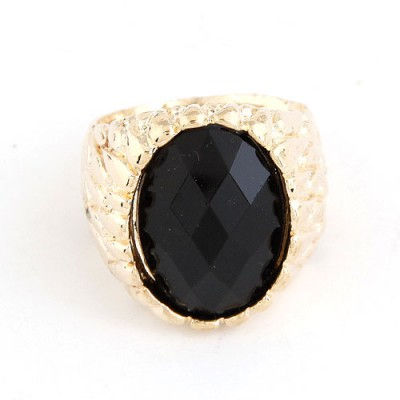 Baggy Black Oval Shape Gemstone Decorated Alloy Korean Rings