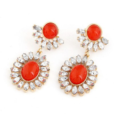 Letterhead Red Gemstone Surrounded By Diamond Pendant Design Alloy Stud Earrings