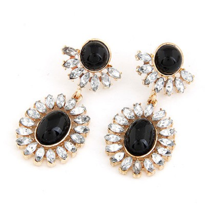 Discount Black Gemstone Surrounded By Diamond Pendant Design Alloy Stud Earrings
