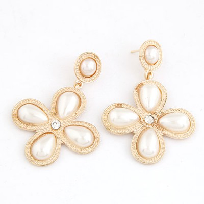 Crucifix White Four-Leaf Clover Shape Design Alloy Stud Earrings