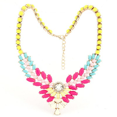 Diy Multicolor Multilayer Gemstone V Shape Pendant Design