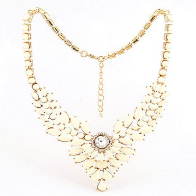 Lined Beige Multilayer Gemstone V Shape Pendant Design Alloy Bib Necklaces