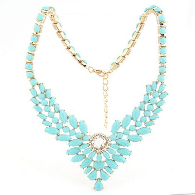 Wide Blue Multilayer Gemstone V Shape Pendant Design Alloy Bib Necklaces