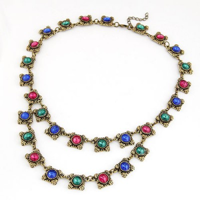 Quilted Multicolor Vintage Gemstone Chain Design Alloy Bib Necklaces