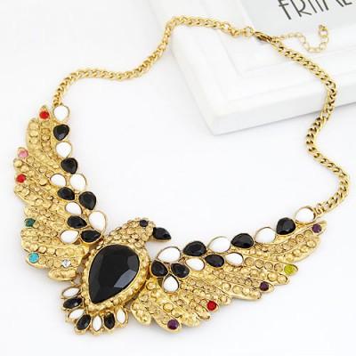 Kids Gold Color Eagle With Gemstone Pendant Design Alloy Bib Necklaces