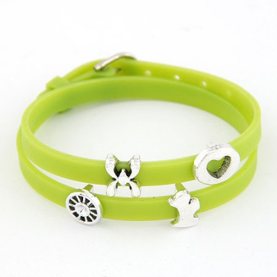 Evil Green Multielement Metal Decorated Double Layers Design Alloy Korean Fashion Bracelet