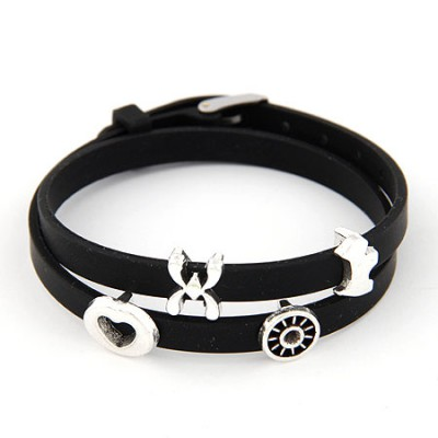 Madewell Black Multielement Metal Decorated Double Layers Design Alloy Korean Fashion Bracelet