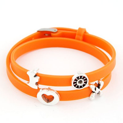 Skinny Orange Multielement Metal Decorated Double Layers Design Alloy Korean Fashion Bracelet