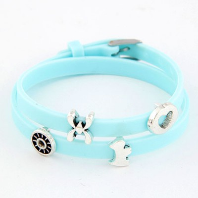 Athletic Blue Multielement Metal Decorated Double Layers Design Alloy Korean Fashion Bracelet