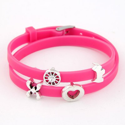 Local Plum Red Multielement Metal Decorated Double Layers Design Alloy Korean Fashion Bracelet