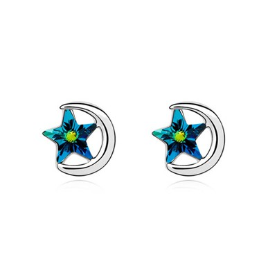 Cubic Blue Moon Embrace Stars Design Austrian Crystal Crystal Earrings