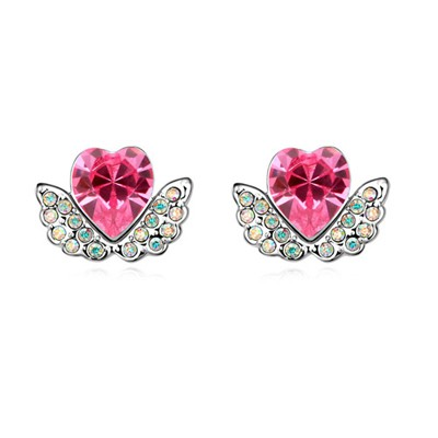 Political Plum Red Angel Wings Heart Shape Design Austrian Crystal Crystal Earrings