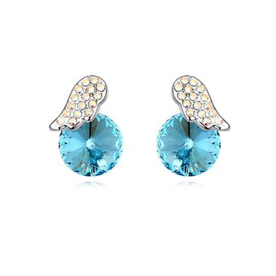 Pagan Ocean Blue Full Of Diamond Wings Decorated Austrian Crystal Crystal Earrings