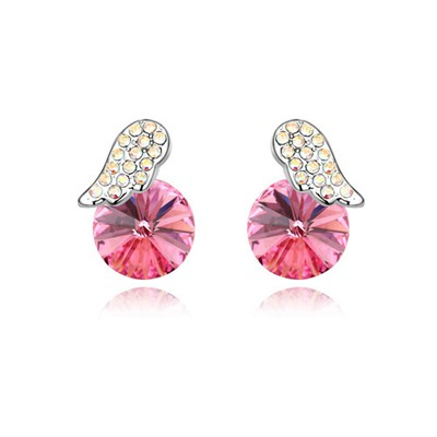 Art Plum Red Full Of Diamond Wings Decorated Austrian Crystal Crystal Earrings