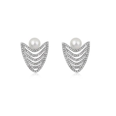Wedding White Multi Row Diamond Decorated Pearl Crystal Earrings