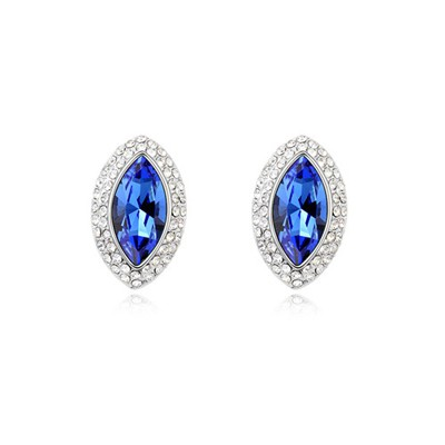 Butterfly Blue Eye Shape Simple Design Austrian Crystal Crystal Earrings