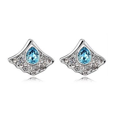 Free Ocean Blue Fan Shape Design Austrian Crystal Crystal Earrings