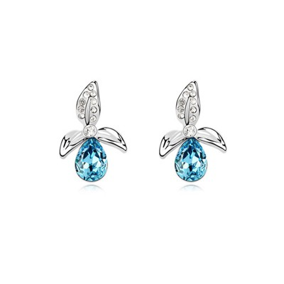 Designer Ocean Blue Three-Leaf Clover Shape Decorated Austrian Crystal Crystal Earrings