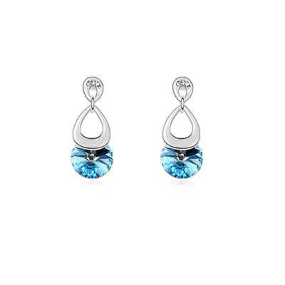 Torrid Ocean Blue Hollow Out Water Drop Decorated Austrian Crystal Crystal Earrings