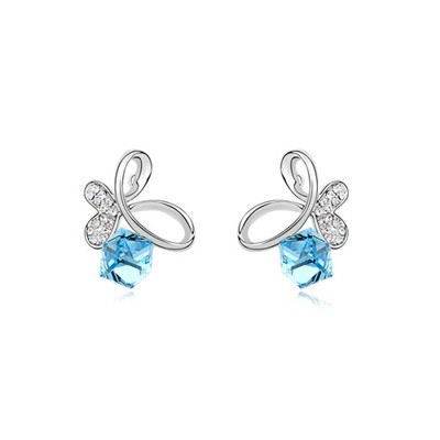 Masonic Ocean Blue Dancing Butterfly Design Austrian Crystal Crystal Earrings