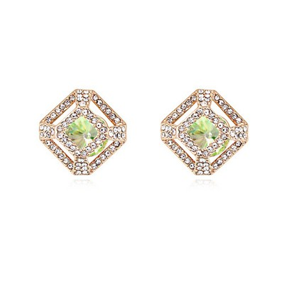 Glam Luminous Green&Champagne Gold Hollow Out Square Shape Design Austrian Crystal Crystal Earrings