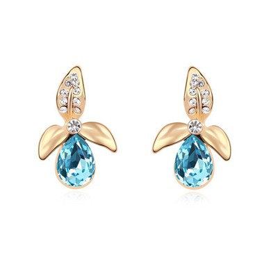 Asian Ocean Blue&Champagne Gold Flower Matching Water Drop Design Austrian Crystal Crystal Earrings