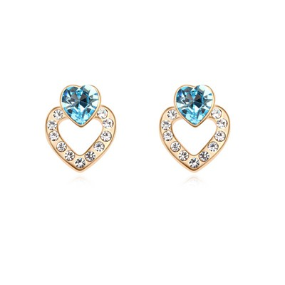 Skeleton Ocean Blue&Champagne Gold Hollow Heart Shape Design Austrian Crystal Crystal Earrings