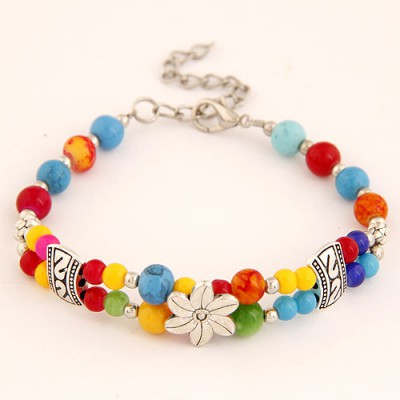 Bead Multicolor Vintage Flower Decorated Weaving Beads Design Alloy Korean Fashion Bracelet