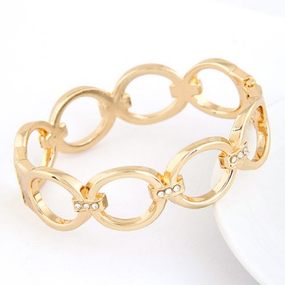 2012 Gold Color Metal Circle Link Design Alloy Fashion Bangles