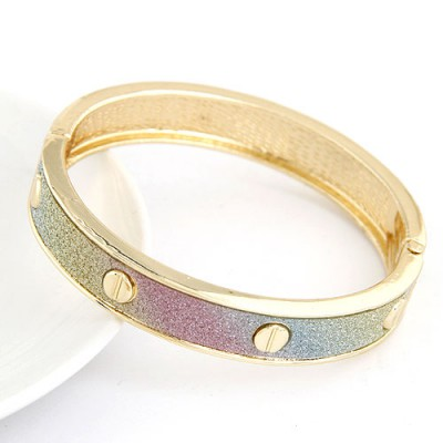 Womens Multicolor Rivet Decorated Punk Design Alloy Fashion Bangles
