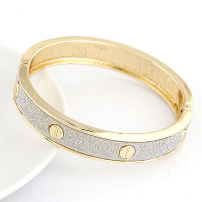 Bridal White Rivet Decorated Punk Design Alloy Fashion Bangles