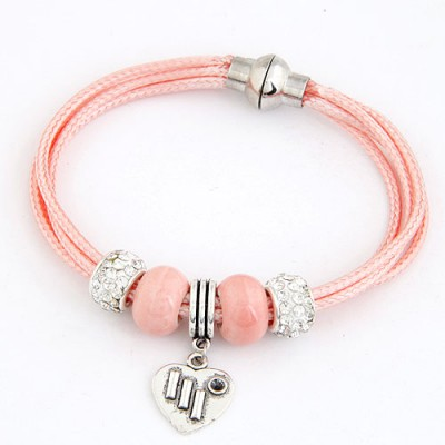 Simple Pink Metal Heart Pendant Multilayer Design Alloy Korean Fashion Bracelet