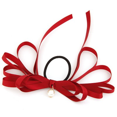 Glossy Claret-Red Multilayer Butterfly Shape Design Rubber Band Hair band hair hoop