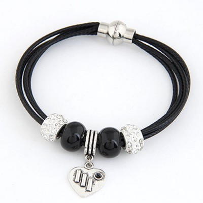 Fake Black Metal Heart Pendant Multilayer Design Alloy Korean Fashion Bracelet