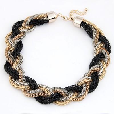 Discount Black Simple Weaving Hemp Flowers Design Alloy Bib Necklaces