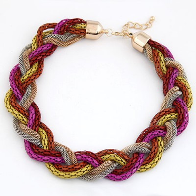 Tribal Multicolor Simple Weaving Hemp Flowers Design Alloy Bib Necklaces