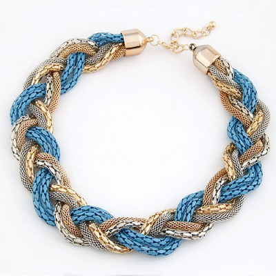 Tapered Blue Simple Weaving Hemp Flowers Design Alloy Chokers