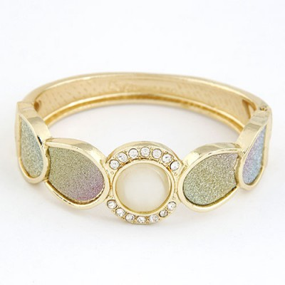 Electric Gold Color Round Shape Gemstone Decorated Alloy Fashion Bangles