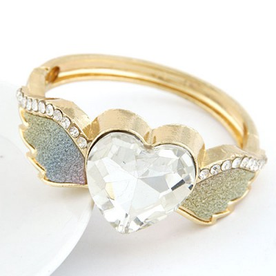 Military Multicolor Angel Wings Heart Shape Design Alloy Fashion Bangles