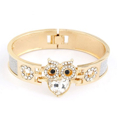 Fashionabl White Sparkly Owl Decorated Alloy Fashion Bangles