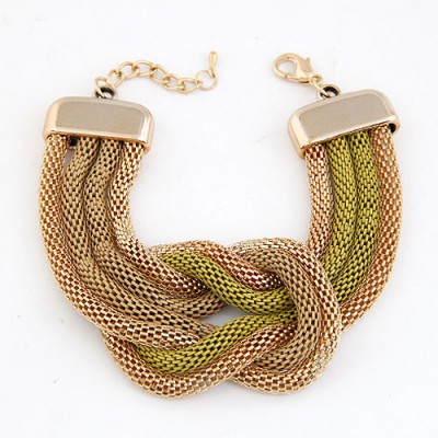 Religious Light Yellow Exaggerated Metal Chain Knotted Wide Design Alloy Korean Fashion Bracelet