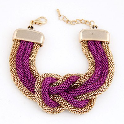 Convertibl Purple Exaggerated Metal Chain Knotted Wide Design Alloy Korean Fashion Bracelet