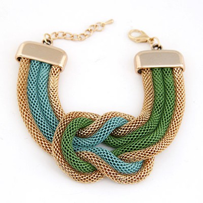 Fine Multicolor Exaggerated Metal Chain Knotted Wide Design Alloy Korean Fashion Bracelet