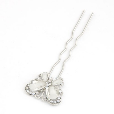 Celebrity White Butterfly Shape Design Alloy Hair clip hair claw
