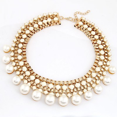 Bead White Diamond Weave Pearl Annular Design Alloy Bib Necklaces