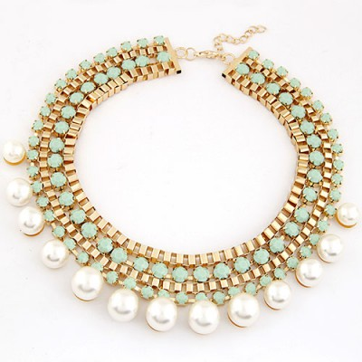 Lariat Blue Diamond Weave Pearl Annular Design Alloy Bib Necklaces