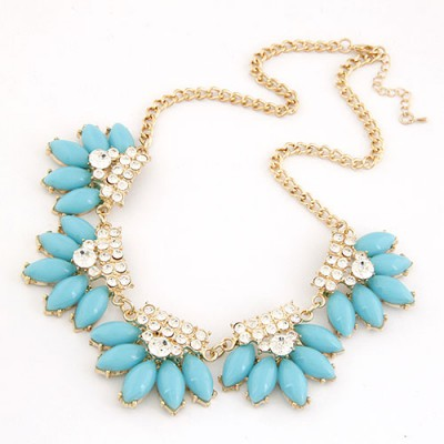 Vintage Blue Metal Inlaid Diamond Flower Design Alloy Bib Necklaces