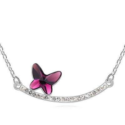 Golf Purple Butterfly Decorated Simple Design Austrian Crystal Crystal Necklaces