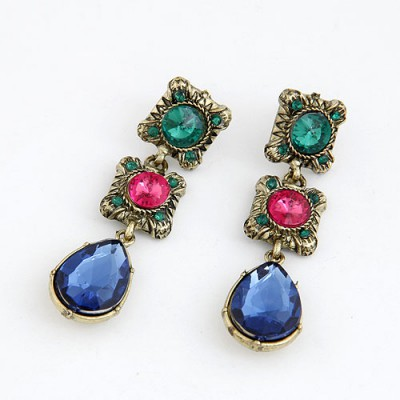 Waxing Blue Water Drop Shape Pendant Alloy Stud Earrings