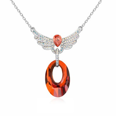Hunting Red Full Of Diamond Angel Wing Decorated Austrian Crystal Crystal Necklaces